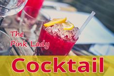 This pink drink isn't just for ladies. A heady combination of gin and applejack are shaken together with egg white and lemon juice for a frothy drink that's given a pink hue thanks to a few drops of grenadine. The Pink Lady Cocktail! Pink Lady Cocktail, Pink Drinks, Gin, Pink Ladies, Juice, Lemon, Cocktails, Breakfast, Desserts