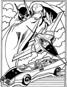Batmobile And Bat Plane Batman Coloring Page
