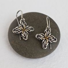 Silver Star Flower Earrings Oxidized Argentium Sterling Gold-Filled Celtic Handwoven Chainmaille Ear Hook As Seen On TV BONES Worn By Angela