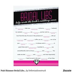 Pink Shimmer Bridal Libs Bachelorette Party Game