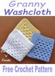 Crochet Granny Washcloth Free crochet pattern for granny washcloth, written in UK and USA format on Crochet Dishcloths, Crochet Granny, Crochet Stitch, Free Crochet, Knit Crochet, Granny Granny, Crochet Cushions, Crochet Pillow, Blanket Crochet