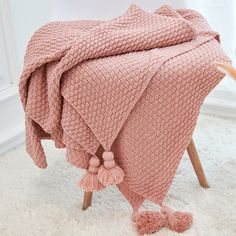 Look to our Cotton Knitted Throw Blanket to update the look of an old armchair. Find warm blankets for your favorite space at the Apollo Box marketplace. Pink Throws, Bed Throws, Warm Blankets, Cotton Blankets, Throw Blankets, Apollo Box, Yarn Sizes, Manta Crochet, Sofa Covers