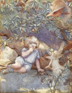 Little Girl With Fairy by Beatrice Goldsmith