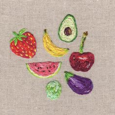 I think I hate fruit right now aha #embroidery #fruit #illustration