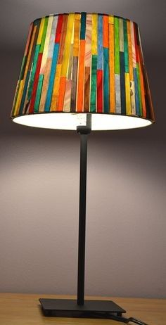 Chromatic striped DIY paper lamp shade crafts - home decor, diy paper craft