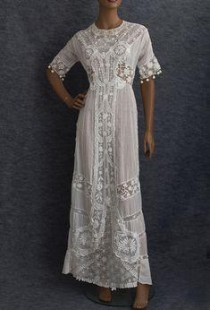 Embroidered tea dress with Irish crochet embellishment, c.1910