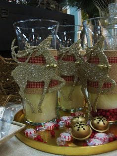 Beautiful candles with jute webbing and dollar store ornaments