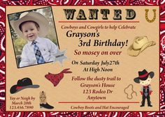 Cowboy Birthday Invitation, Western Invitation, Farm Friends Invitation