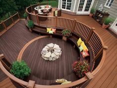 deck with built in seating and fire pit