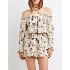 3ab44c5c7639 Charlotte Russe Floral Off-The-Shoulder Ruffle Romper ( 16) ❤ liked on