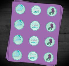 Mermaid Personalized Circle Tags Cupcake by RainyZebraDesigns
