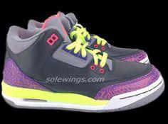 Air Jordan III GS Purple/Pink/Volt