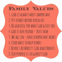 Free Printable For Your Fridge - Christian Family Values #parenting
