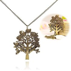 $1.95 Popular Stylish Man-Made Jewel Big Tree Pendant Necklace with English Letters Sweater Sweater Chain (Golden)