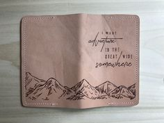 """""""I Want Adventure"""" Leather Passport Cover Travel Items, Travel Things, Travel Gadgets, Leather Accessories, Travel Accessories, Passport Holders, Handbags For Men, Leather Laptop Bag, Passport Cover"""