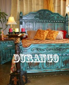 Love this bed frame! Everyone needs some turquoise in at least one spot in their home. Durango Trading Co. Western Furniture, Rustic Furniture, Painted Furniture, Stain Furniture, Mexican Furniture, Colorful Furniture, Deco Ethnic Chic, Pink Bed Sheets, Cowgirl Bedroom