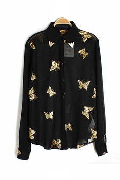 Bronzing butterfly pattern long sleeve blouse_long sleeve blouses_Blouses&ChiffonShirt_CLOTHING_Voguec Shop