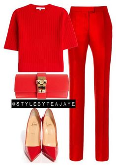 @elfriedmanon Red Trousers Outfit, Red Dress Outfit, Red Pants, Work Fashion, Teen Fashion, Runway Fashion, Fashion Models, Womens Fashion, Red Louboutin