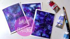 Tutorial como pintar GALAXIA con acuarelas (GALAXY CHALLENGE) * ART Tv b...