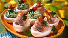 Stuffed Eggs with Avocado Cream and Salmon Mousse