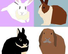 Set of 4 rabbit paper-piecing patterns, PDF