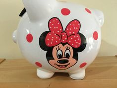 Personalized  Large Piggy  Bank  Disney Minnie Mouse Polka Dots-Newborns , Boys , Girls , Baby Shower Gift Centerpiece by KUTEKUSTOMKREATIONS on Etsy