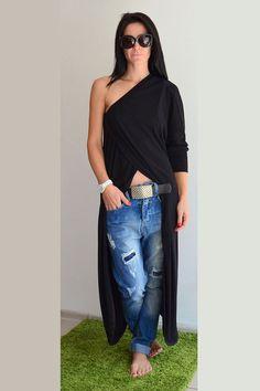 Black Long Tunic Top  / Black Maxi Tunic by ClothesByLockerRoom