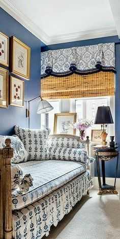 Post Holiday Blues, Work Tomorrow, Blue Home Decor, Return To Work, Interior Exterior, Blue Walls, Elle Decor, Home Bedroom, Valance Curtains