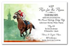 "A lone horse and his jockey lead the pack in front of the Churchill Downs spires at the Kentucky Derby. The Front Runner Horse Racing Invitation makes a perfect Kentucky Derby Party Invitation.  Actual Size: 5.5"" x 8.5"" We will use the layout shown on this invitation UNLESS you let us know to use a standard in-line layout"