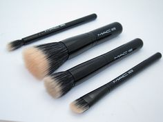 The two brushes in the middle would be good for applying blush. Also, the bigger one could be used to apply foundation. You can find brushes like this just about anywhere.   MAC Perfectly Plush Mineralize Brushes