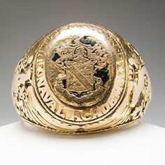 Antique Tiffany & Co Mens United States Naval Academy Ring Solid 14K Gold 1935