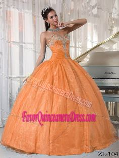 Ball Gown Sweetheart Taffeta and Organza Quinceanera Dress with Beading
