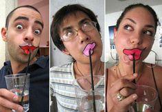 pouting lips straw