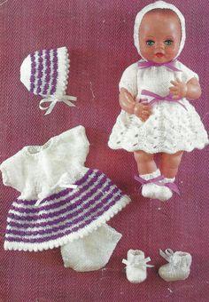 12 Inch Doll Clothes, Baby Doll Clothes, Doll Clothes Patterns, Doll Patterns, Clothing Patterns, Baby Dolls, Sirdar Knitting Patterns, Knitting Stitches, Free Knitting