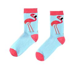 Women's crew sock with vibrant pink Flamingo design. Soft blue base with deep pink toe and heel. Our socks are...