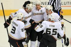 He may be new to the Ducks, but clearly some love already for Sheldon Souray being shown in this hockey hug.