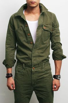 Mens Fashion Military Look Khaki One Piece Jumpsuit Overall Jean, GENTLERSHOP