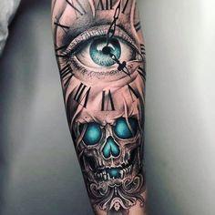 Indian Skull Tattoos, Skull Sleeve Tattoos, Cool Arm Tattoos, Best Sleeve Tattoos, Tattoo Sleeve Designs, Forearm Tattoos, Arm Band Tattoo, Body Art Tattoos, Hand Tattoos