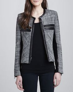 Hayley Woven Leather-Trim Jacket by Parker at Neiman Marcus.