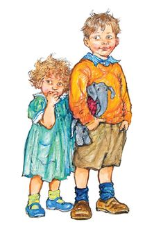 Alfie and Annie Rose. by Shirley Hughes. Shirley Hughes. Watercolour    illustrationcupboard.com