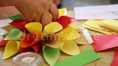 Origami handmade -  making paper cones colorful for flower.