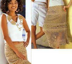 Long Beige Mesh Skirt free crochet graph pattern