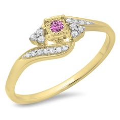 10K Gold Round Pink Sapphire and White Diamond Ladies Twisted Swirl Promise Engagement Ring -- Don't get left behind, see this great  product : Promise Rings Jewelry