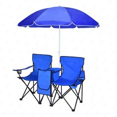 2 Folding Chair Camp Chair With Removable Umbrella Table Cooler Bag Fold Up Steel Construction Dual Seat for Patio Beach Lawn Picnic Fishing Camping Garden blue. Portable, Fits anywhere, Multipurpose use.