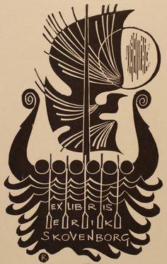 Erik Skovenborg's bookplate (or ex libris), by Ladislav Rusek, 1972.