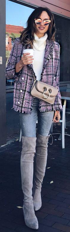 #winter #fashion /  Printed Tweed Blazer / White Turtleneck / Grey Skinnyjeans / Grey Velvet OTK Boots