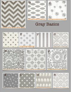 Custom Baby Crib Bedding- Design Your Own Modern Baby Bedding- Gray Basics on Etsy Modern Baby Bedding, Modern Crib, Baby Crib Bedding, Baby Cribs, Dorm Bedding, Glider Cushions, Window Seat Cushions, Bench Cushions, Rocking Chair Covers