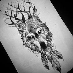 Résultats de recherche d'images pour «wolf drawing tattoo»