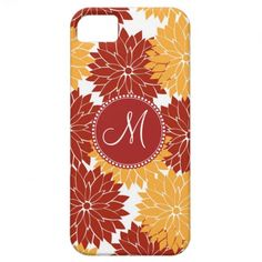 Personalized Monogram Initial Orange Red Flowers iPhone 5 Covers