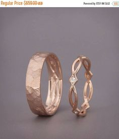 SALE 14K Rose Gold Eternity Wedding Rings set with Diamonds